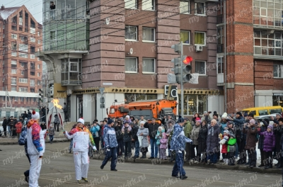 Stage of the Olympic torch relay Sochi 2014 in Irkutsk_18