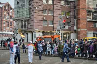 Stage of the Olympic torch relay Sochi 2014 in Irkutsk_19