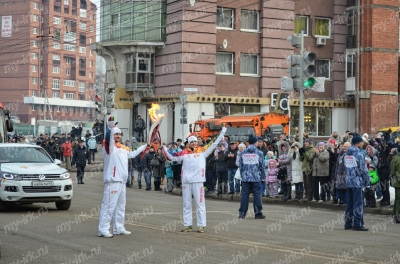 Stage of the Olympic torch relay Sochi 2014 in Irkutsk_23