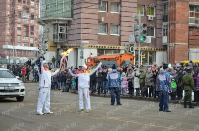 Stage of the Olympic torch relay Sochi 2014 in Irkutsk_25